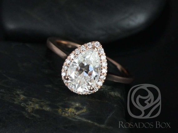 2ct Pear Forever One Moissanite Diamonds Extra Low Halo Engagement Ring,14kt Solid Rose Gold,Jorie 10x7mm,Rosados Box