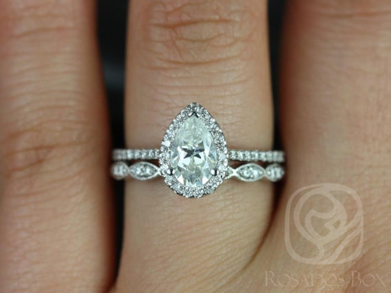 Rosados Box Tabitha 8x5mm & Christie 14kt White Gold Pear F1- Moissanite and Diamonds Halo Wedding Set