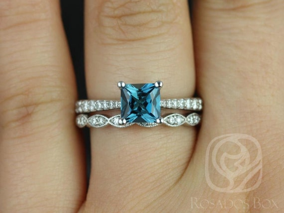 Rosados Box Taylor 6mm & Christie 14kt White Gold Princess London Topaz and Diamond Cathedral Wedding Set