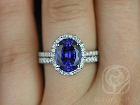 Chantelle 10x8mm 14kt Solid White Gold Oval Blue Sapphire Diamond Dainty Micropave Halo Wedding Set Rings,Rosados Box