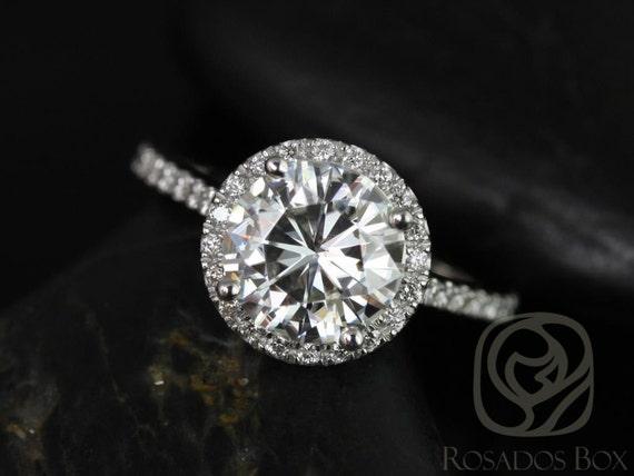 Rosados Box Kubian 8mm Platinum Round Forever One Moissanite Diamonds Halo Engagement Ring