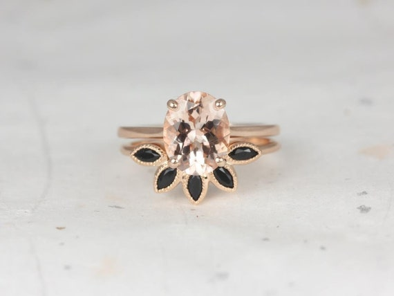 Oval Morganite Onyx Tiara Thin Low Cathedral Solitaire Wedding Set Rings Rings, 14kt Solid Rose Gold, Delia 10x8mm & Petunia, Rosados Box