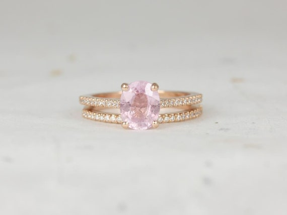 1.65ct Oval Frosty Blush Champagne Sapphire Diamond Cathedral Wedding Set Rings,14kt Solid Rose Gold,Ready to Ship Blake 1.65cts,Rosados Box