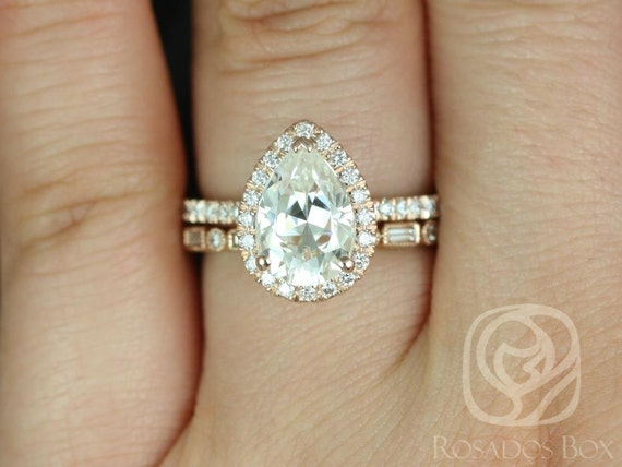 2ct Pear Forever One Moissanite Diamonds Art Deco Thin Halo Wedding Set Rings Rings,14kt Solid Rose Gold,Toni 10x7mm & Ivanna,Rosados Box