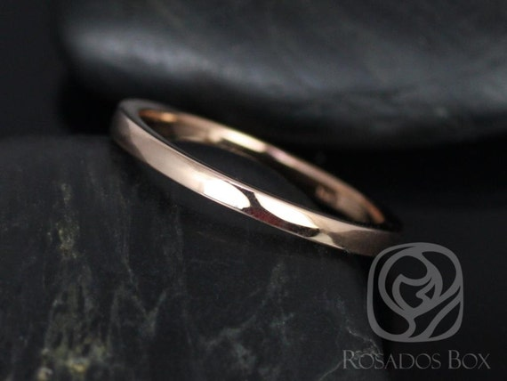 14kt Rose Gold Classic PLAIN Band to Skinny Flora Wedding Ring,Rosados Box