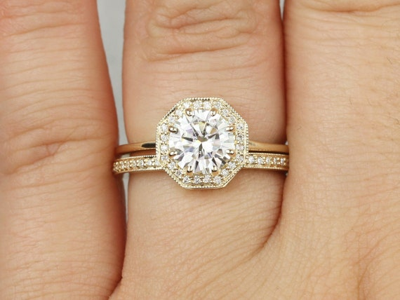 1.25ct Winona 7mm 14kt Gold Forever One Moissanite Diamond Unique Art Deco Octagon Halo WITH Milgrain Wedding Set Rings,Rosados Box