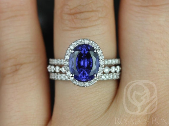 10x8mm Oval Blue Sapphire Diamond Micropave Halo TRIO Wedding Set Rings,14kt Solid White Gold,Chantelle 10x8mm & Petite Naomi,Rosados Box