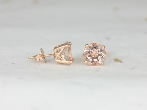 Rosados Box Ready to Ship Donna 7mm 14kt Rose Gold Round Morganite Leaf Gallery Basket Stud Earrings