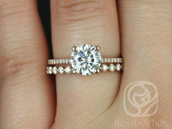 1.50ct Round Forever One Moissanite Diamonds Thin Solitaire Accent Wedding Set Rings,14kt Rose Gold,Eloise 7.5mm & Petite Naomi,Rosados Box