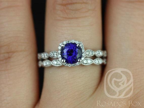 Rosados Box Christie 6mm 14kt White Gold Blue Sapphire Cushion Halo WITH Milgrain Wedding Set Rings