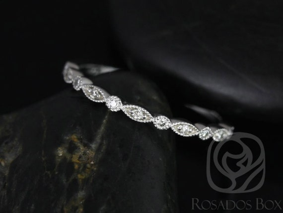 Ultra Petite Bead & Eye/Gwen 14kt White Gold Dainty Art Deco Diamond WITH Hand Milgrain HALFWAY Eternity Band Stack Ring,Rosados Box