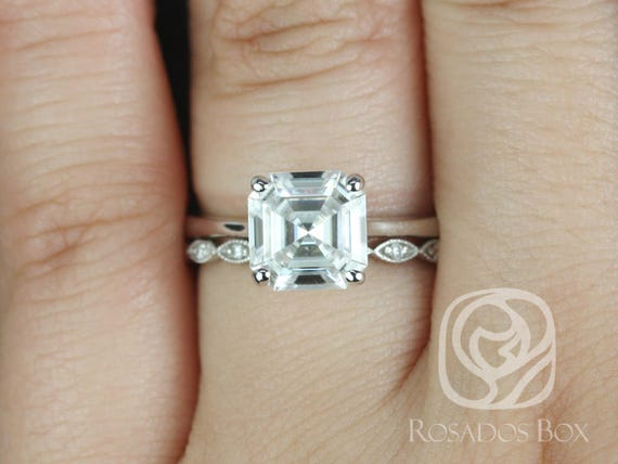 Rosados Box Skinny Denise 8mm & Ultra Petite Leah 14kt White Gold Asscher F1- Moissanite and Diamonds Tulip Cathedral Solitaire Wedding Set