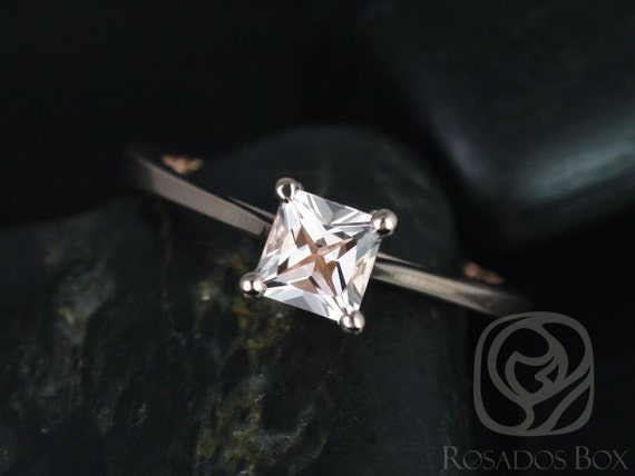 Rosados Box Gallina 5mm 14kt Rose Gold Princess Morganite Cathedral Looped Solitaire Engagement Ring