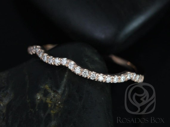 Rosados Box 14kt Rose Gold Matching Band to Chloe Diamond HALFWAY Eternity Band