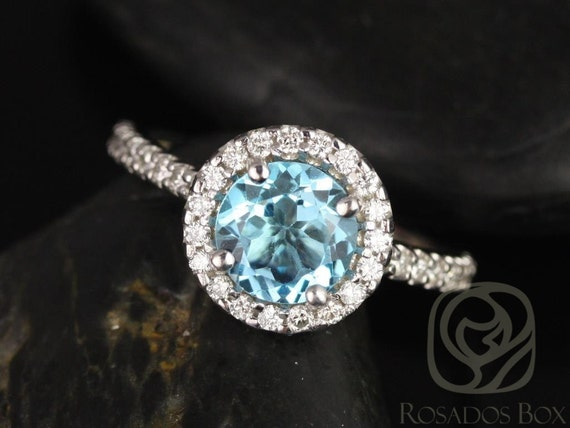 Rosados Box Ready to Ship Jolie 7mm 18kt White Gold Round Sky Blue Topaz and Diamonds Halo Engagement Ring