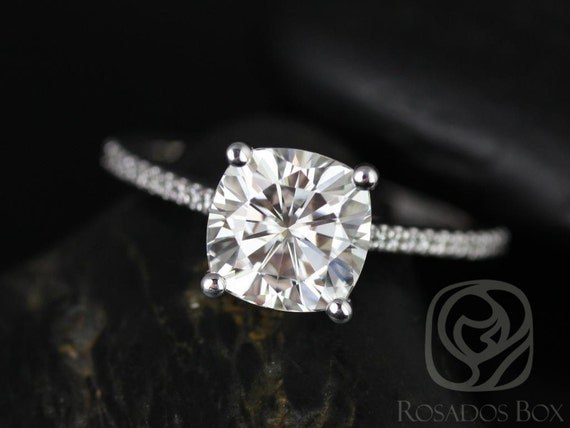 2.40cts Marcelle 8mm Platinum Forever One Moissanite Diamonds Dainty Thin Cathedral Solitaire Cushion Engagement Ring,Rosados Box