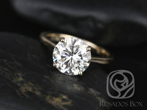 SALE Rosados Box Ready to Ship Skinny Flora 9.5mm 14kt Yellow Gold Round FB Moissanite Simple Dainty Cathedral Solitaire Engagement Ring