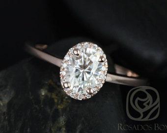 Rosados Box Celeste 7x5mm 14kt Rose Gold Oval F1- Moissanite and Diamonds Pave Halo Engagement Ring