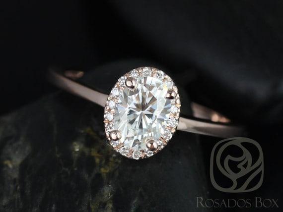 Rosados Box Celeste 7x5mm 14kt Rose Gold Oval Forever One Moissanite Diamonds Pave Halo Engagement Ring