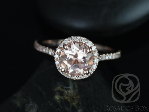 7mm Round Morganite Diamonds Thin Dainty Pave Halo Engagement Ring,14kt Solid Rose Gold,Kubian 7mm,Rosados Box