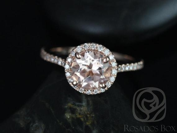 Rosados Box Kubian 7mm 14kt Rose Gold Round Morganite and Diamonds Halo Engagement Ring