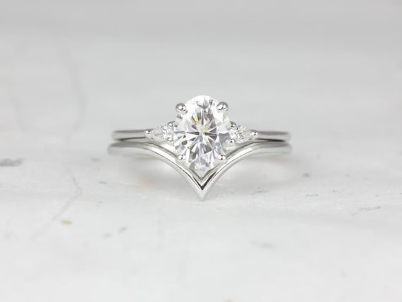 1.50cts Oval Forever One Moissanite Diamond 3 Stone Pear Wedding Set Rings, 14kt Solid White Gold, Petite Emery 8x6mm & Willow, Rosados Box