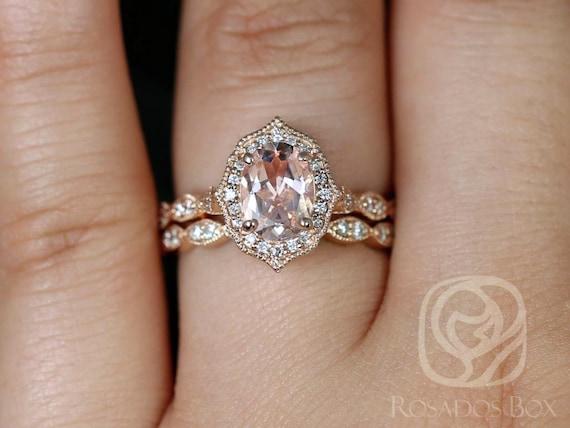 Rosados Box Lana 8x6mm 14kt Rose Gold Oval Morganite and Diamond Halo WITH Milgrain Wedding Set Rings
