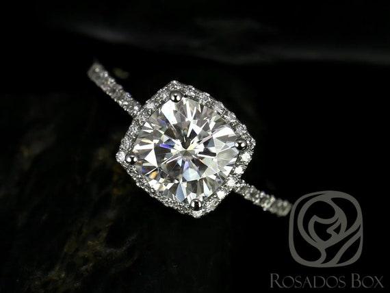 Rosados Box Randi 7.5mm 14kt White Gold Cushion Forever One Moissanite Diamond Halo Engagement Ring