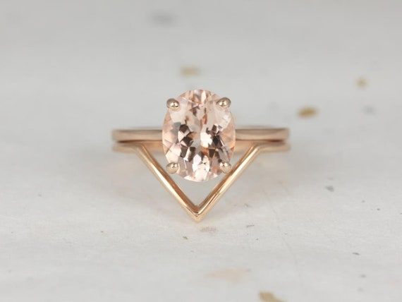 Oval Morganite Chevron Thin Low Cathedral Solitaire Wedding Set Rings. 14kt Solid Rose Gold, Delia 10x8mm & Femme, Rosados Box