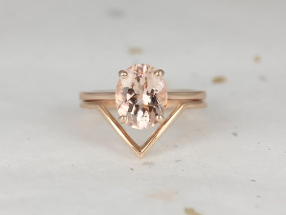 Delia 10x8mm & Femme 14kt Rose Gold Morganite Chevron Dainty Low Cathedral Oval Solitaire Wedding Set Rings,Rosados Box