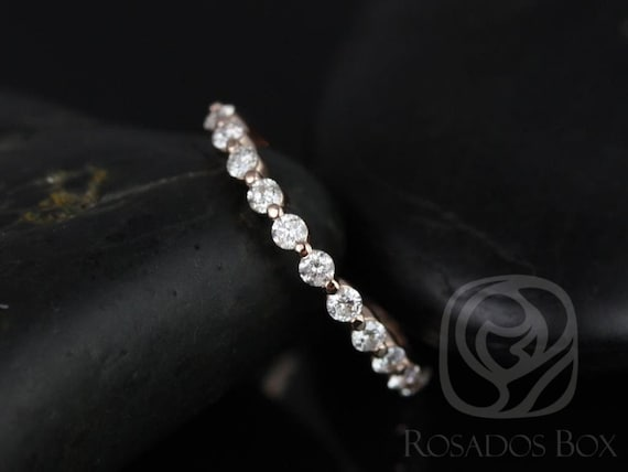 Diamond Single Prong Floating HALFWAY Eternity Band Ring,14kt Solid Rose Gold,Petite Naomi/Petite Bubble & Breathe,Rosados Box