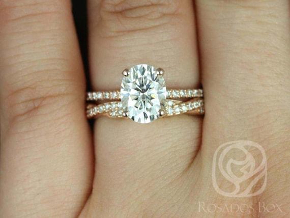 Rosados Box Hillary 9x7mm & Twyla 14kt Rose Gold Oval Forever One Moissanite Diamond Basket Wedding Set Rings