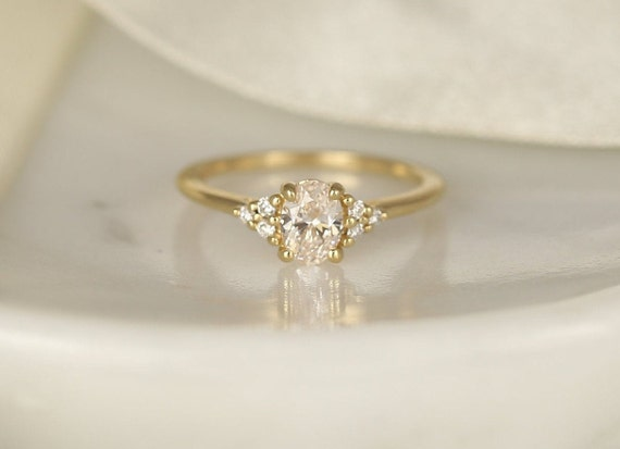 0.52ct Ready to Ship Juniper 14kt Gold Lab Diamond Art Deco Dainty Oval Cluster 3 Stone Engagement Ring,Rosados Box