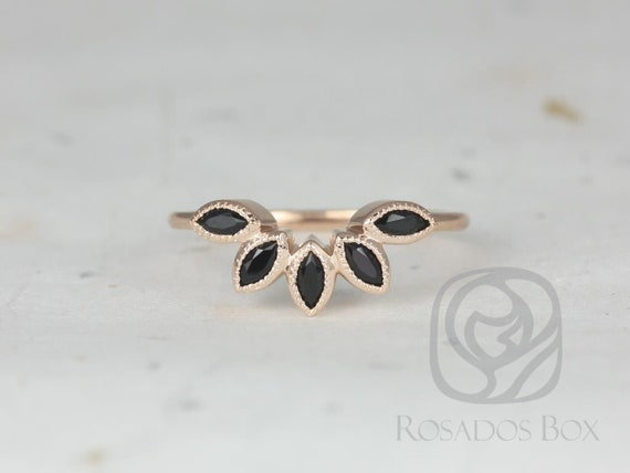Rosados Box DIAMOND FREE Petunia 14kt Rose Gold Marquise Black Onyx Leaves WITH Milgrain Tiara Ring