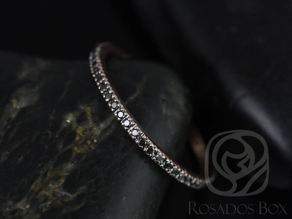 Rosados Box Ninette 14kt Rose Gold Ultra Thin Black Diamond FULL Eternity Band