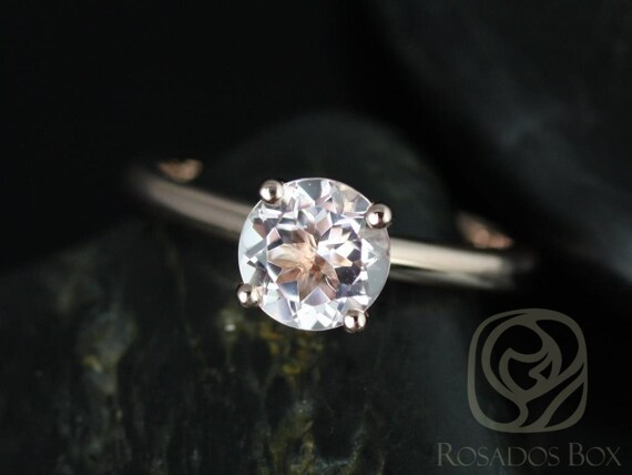 Alberta 7mm 14kt Rose Gold Round Morganite Classic Round Solitaire Engagement Ring,Rosados Box