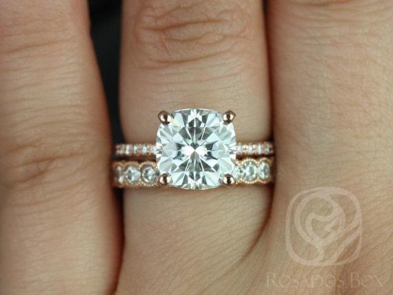 3.30ct Heidi 9mm & Cordelia 14kt Rose Gold Forever One Moissanite Diamond Art Deco Scalloped Cushion Solitaire Wedding Set Rings,Rosados Box