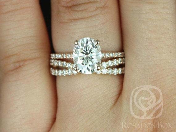 Rosados Box Hillary 9x7mm & Lima 14kt Rose Gold Oval Forever One Moissanite Diamond Basket Wedding Set Rings