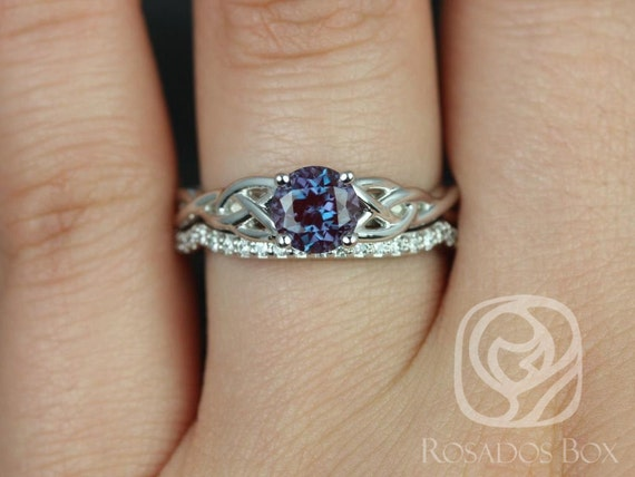 6mm Round Alexandrite Diamonds Celtic Love Knot Triquetra Wedding Set Rings,14kt Solid White Gold,Cassidy 6mm,Rosados Box