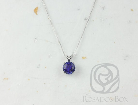 Rosados Box Donna 8mm 14kt White Gold Round Blue Sapphire Leaf Gallery Basket Solitaire Necklace