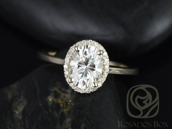 Rosados Box Celeste 8x6mm 14kt Yellow Gold Oval Forever One Moissanite Diamonds Pave Halo Engagement Ring