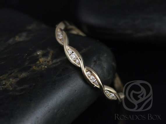 Ember 14kt Solid Gold Thin Diamonds Twisted DNA Infinity HALFWAY Eternity Band Ring,Rosados Box