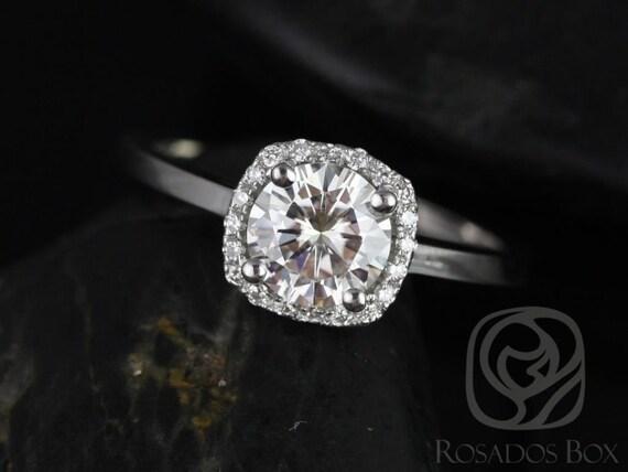 Forever One Moissanite Diamonds Cushion Halo Plain Band Engagement Ring , 14kt Solid White Gold , Bella 6mm , Rosados Box