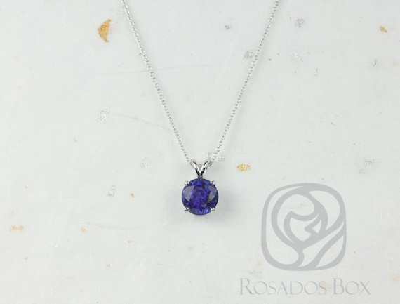 Rosados Box Ready to Ship Donna 8mm 14kt White Gold Round Blue Sapphire Leaf Gallery Basket Solitaire Necklace