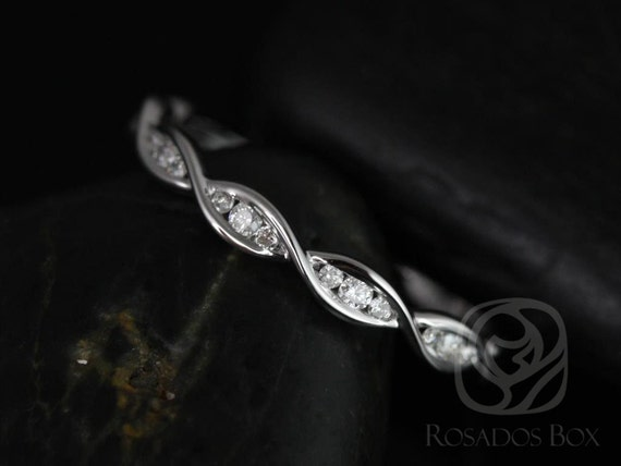 Rosados Box Ready to Ship Ember 14kt White Gold Infinity DNA Twist Diamonds HALFWAY Eternity Band