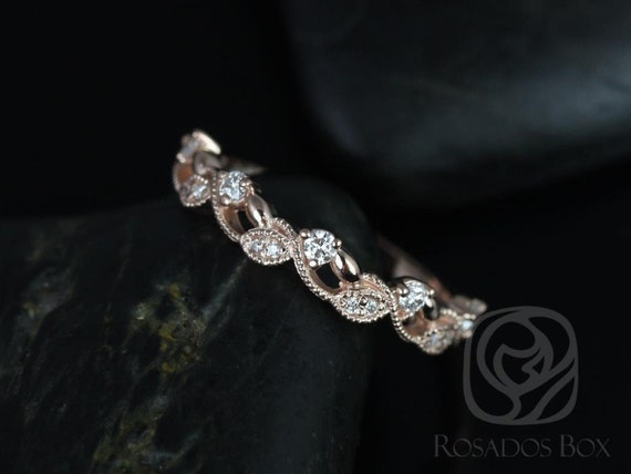 Rosados Box Ready to Ship Daphine 14kt Rose Gold Thin Weaving Leaves Diamonds Berries Halfway Eternity Band
