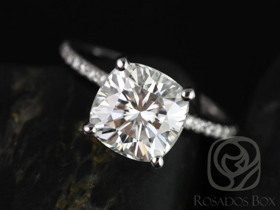 3.30ct Cushion Forever One Moissanite Diamond Micro Pave Hidden Pave Basket Engagement Ring,14kt White Gold,Heidi 9mm,Rosados Box
