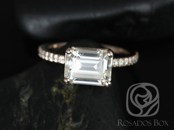Rosados Box Becca 9x7mm 14kt Rose Gold Emerald Forever One Moissanite Diamonds Accent Engagement Ring