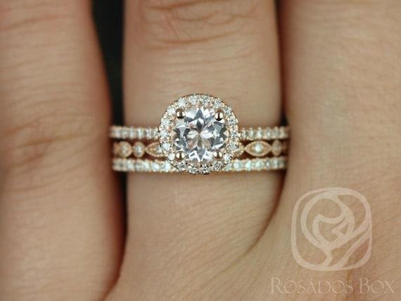 Rosados Box Kubian 6mm & Ult Pte Bd Eye 14kt Rose Gold Round Morganite and Diamonds Halo TRIO Wedding Set