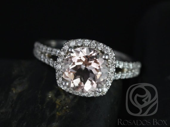 Rosados Box Ready to Ship Pasley 8mm 14kt White Gold Morganite and Diamonds Cushion Halo Split Band Engagement Ring